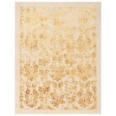 21st Century Carpet Rug Dumas in Himalayan Wool and Silk Beige, Ivory, Goldish