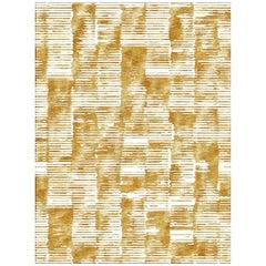 21st Century Carpet Rug Edge in Himalayan Wool and Silk Goldish, Beige, White