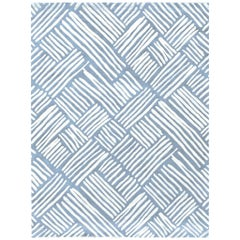 21st Century Carpet Rug Flair in Himalayan Wool and Silk Light Blue, White