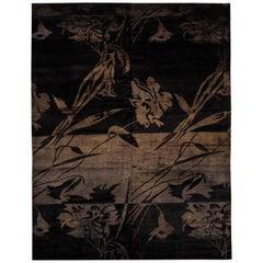21st Century Carpet Rug Flamengo in Himalayan Wool and Silk Black, Brown
