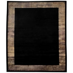 21st Century Carpet Rug Frame in Himalayan Wool and Silk Black, Brown