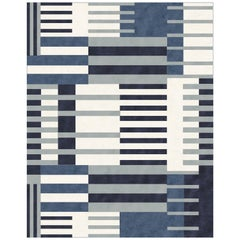 21st Century Carpet Rug Helene in Himalayan Wool and Silk Blue, White