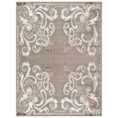 21st Century Carpet Rug Hermes in Himalayan Wool and Silk Beige, Gray, Greige