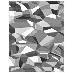 21st Century Carpet Rug Magneto in Himalayan Wool and Silk Gray, Black, White