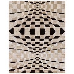 Hand Knotted Rug Matrix Ver. A in Himalayan Wool and Silk Black, Beige
