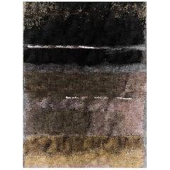 21st Century Carpet Rug Nebula in Himalayan Wool and Silk Gray, Black, Beige