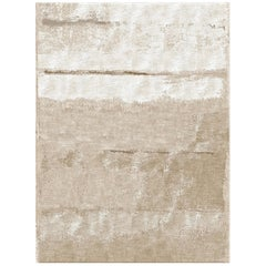 Hand Knotted Rug Nebula Ver. C in Himalayan Wool and Silk Beige, Brown