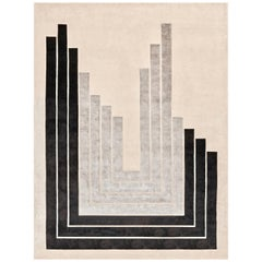 21st Century Carpet Rug Otto in Himalayan Wool and Silk Black, Gray, Beige
