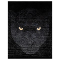 21st Century Carpet Rug Panther in Himalayan Wool and Silk Black, Yellow