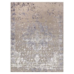 Hand Knotted Rug Persepoli Ver, A in Himalayan Wool and Silk Gray, Blue