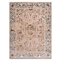 21st Century Carpet Rug Richelieu V1 in Himalayan Wool and Silk Gray, Beige