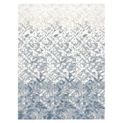 21st Century Carpet Rug Shibori by J&V in Himalayan Wool and Silk White, Blue