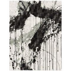 Hand Knotted Rug Untitled Ver. A in Himalayan Wool and Silk Black, Gray