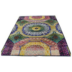 Hand Knotted Sari Silk with Oxidized Wool Mamluk Design Oriental Rug