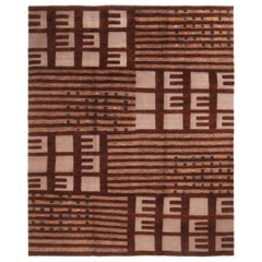 Hand Knotted Scandinavian Style Geometric Beige and Brown Wool Rug