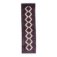 Hand Knotted Semi-Antique Persian Hamadan Runner Rug