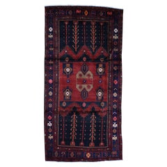 Hand-Knotted Semi Antique Persian Hamadan Wide Runner Oriental Rug