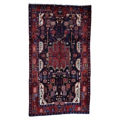 Hand-Knotted Semi Antique Persian Nahavand Wide Runner Oriental Rug