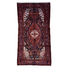 Hand Knotted Semi Antique Persian Nahavand Wide Runner Rug