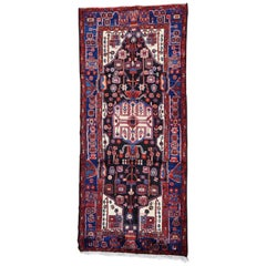 Hand-Knotted Semi Antique Persian Nahavand Wide Runner Rug