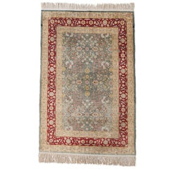 Hand-Knotted Silk Hereke Prayer Rug with Floral Motif, Signed from Turkey