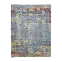 Hand Knotted Silk with Oxidized Wool Broken Design Oversize Rug