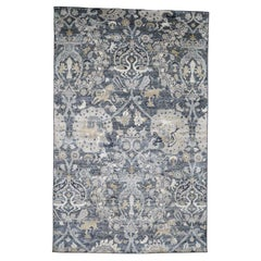 Hand Knotted Silk with Oxidized Wool Hunting Design Rug
