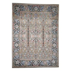 Hand Knotted Silk with Oxidized Wool Kashan Influence Rug