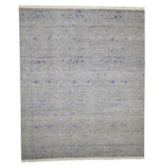 Hand Knotted Silk with Oxidized Wool Modern Oriental Rug