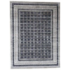 Hand Knotted Silk with Oxidized Wool Repetitive Design Oriental Rug