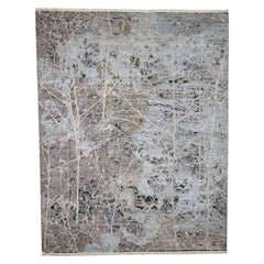 Hand Knotted Silk with Oxidized Wool Transitional Rug