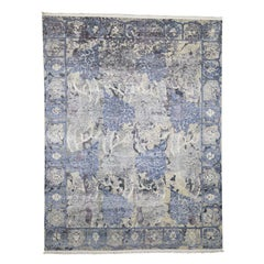 Hand-Knotted Silk with Oxidized Wool Transitional Rug