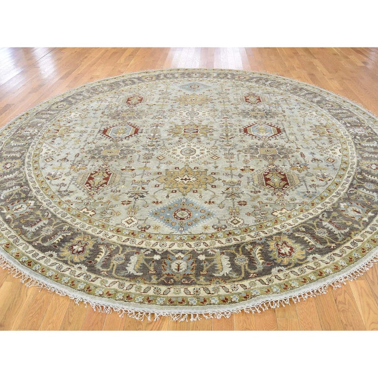 Other Hand Knotted Silver Karajeh Design Pure Wool Round Oriental Rug For Sale