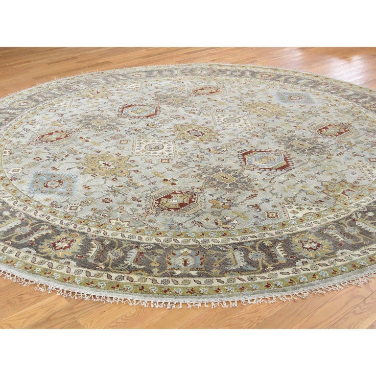 Afghan Hand Knotted Silver Karajeh Design Pure Wool Round Oriental Rug For Sale