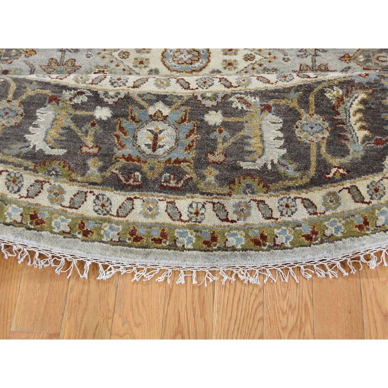 Contemporary Hand Knotted Silver Karajeh Design Pure Wool Round Oriental Rug For Sale