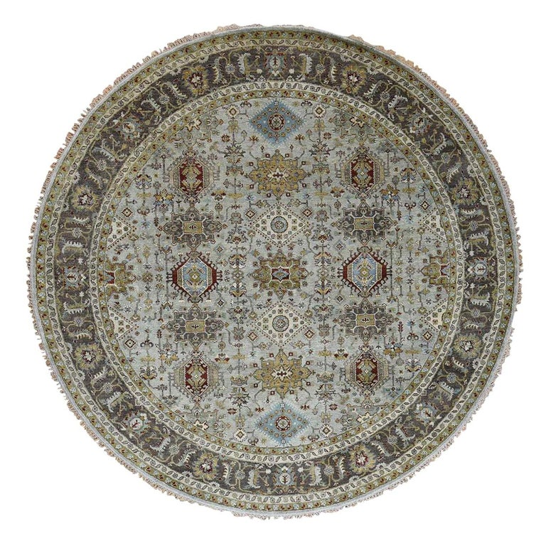 Hand Knotted Silver Karajeh Design Pure Wool Round Oriental Rug For Sale