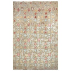 Hand Knotted Spanish Style Floral Rug in Beige and Red by Rug & Kilim