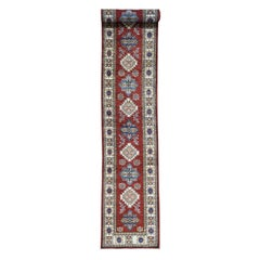 Hand Knotted Super Kazak Tribal Design Extra Large Runner Carpet