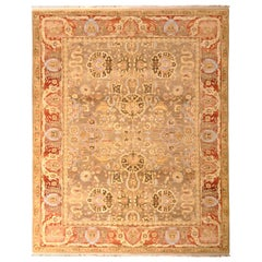 Hand Knotted Tabriz Style Rug Beige Red Persian Floral Pattern by Rug & Kilim