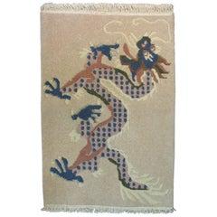 Hand Knotted Tibetan Dragon Khaden Rug, circa 1970s