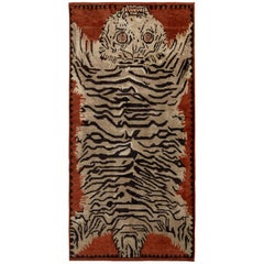 Hand Knotted Tiger Rug in Beige Brown Pictorial Pattern by Rug & Kilim