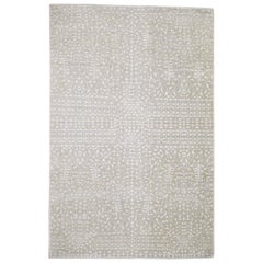 Hand Knotted Tone on Tone Pure Silk with Oxidized Wool Oriental Rug