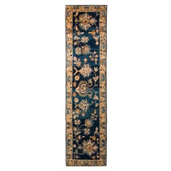 Hand Knotted Traditional Mahal Floral Vintage Persian Runner in Blue and Yellow