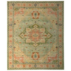 Hand Knotted Traditional Rug Jade Green Peach Pink Medallion by Rug & Kilim