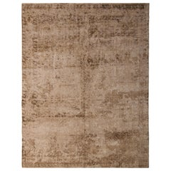 Hand Knotted Traditional Silk Rug Beige Brown Herati Pattern by Rug & Kilim