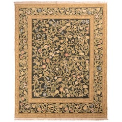 Hand Knotted Tudor Style Rug Beige Green Classic Floral Pattern by Rug & Kilim