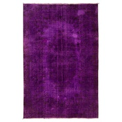 6.5x9.8 Ft - Vintage Turkish Area Rug Over-Dyed in Purple. Wool
