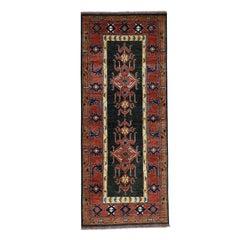 Hand Knotted Turkoman Ersari Pure Wool Wide Runner Rug