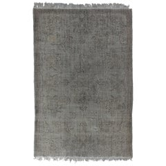 Hand-Knotted Vintage Floral Garden Design Rug Re-Dyed in Gray Color