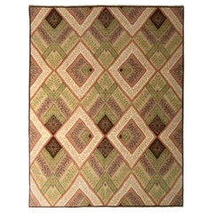 Hand Knotted Vintage French Country Rug in Green and Beige All-Over Pattern